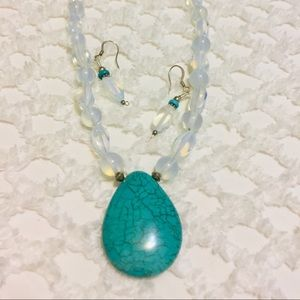NWOT Moonstone Beaded & Turquoise Pendant Necklace
